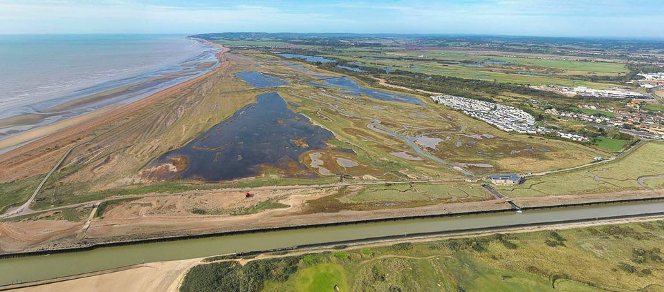 Aerial view of Rye Harbour Nature Reserve