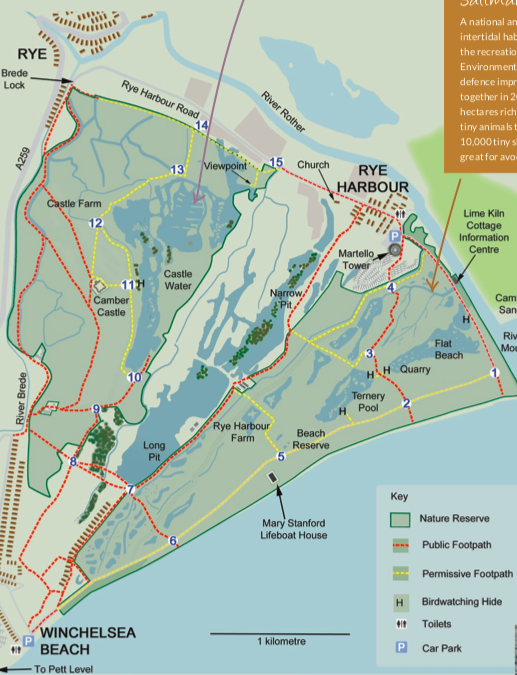 Map of Rye Harbour Nature Reserve East Sussex